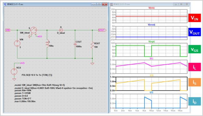 昇降圧コンバータのシミュレーション(昇圧時)